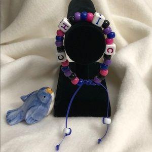 CHIC Block Letter,  Pony & Crystal Bead Bracelet
